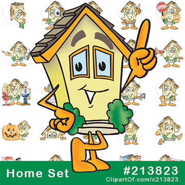 Cartoon Home Mascots - Royalty-Free Clip Art Collection #213823