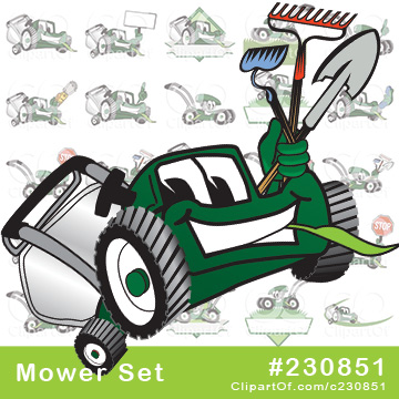 Green Lawn Mower Mascots - Royalty Free Clip Art Collection #230851