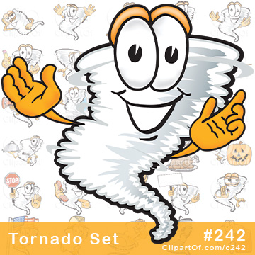 Cartoon Tornado Mascots - Royalty-Free Clip Art Collection #242