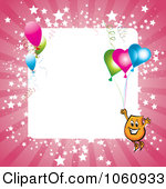 Royalty-Free Vector Clip Art Illustration of a Pink Starry Frame With A Blinky Character And Party Balloons Around White Space by MilsiArt