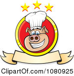 Clipart Smiling Chef Pig Logo With A Banner And Stars - Royalty Free Vector Illustration by Paulo Resende
