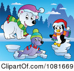 Clipart Polar Bear Penguin And Seal - Royalty Free Vector Illustration by visekart