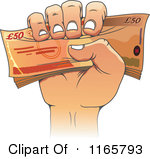 Clipart of a Cartoon Hand Holding Fifty Pound Euro Cash - Royalty Free Vector Illustration by Seamartini Graphics