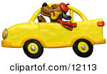 Clay sculpture of a dog with hat, pipe and scarf, driving a yellow car Clipart Picture by Amy Vangsgard