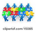 Blue 3d People Working Together To Hold Colorful Pieces Of A Jigsaw Puzzle That Spells Out Team Work