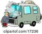 Confused Male Mechanic Scratching His Head While Standing In Front Of A Broken Down Green Rv With Smoke Rising From Under The Engine Hood Clip Art Illustration by Dennis Cox