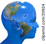 Royalty-free Clip Art: Persons Head In Profile Covered In Blue Seas And Continents Of Planet Earth
