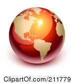 Royalty-Free (RF) Clipart Illustration of a 3d Shiny Red And Gold Globe Featuring America by Oligo