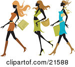 Three Silhouetted Long Haired Women Wearing Colorful And Fashionable Clothes And Taking Long Strides While Shopping In A Mall