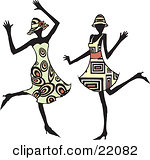 Clipart Picture of Two Energetic Women In Hats And Fashionable Dresses, Dancing At A Party And Having Fun by Steve Klinkel