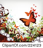Royalty-Free (RF) Clipart Illustration of a Grungy Flourish And Butterfly Background by OnFocusMedia