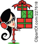 Royalty-Free (RF) Clipart Illustration of a Retro Woman Wearing A Santa Suit And Carrying A Pile Of Christmas Gifts by Andy Nortnik