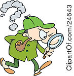 Royalty-free Clip Art: Sherlock Holmes A Caucasian Man In A Green Hat Coat And Pants Smoking A Pipe And Peering Through A Magnifying Glass While Searching For Evidence