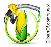 Clipart Illustration of a Yellow Gas Nozzle Dripping Over An Ear Of Corn In A Green And Yellow Circle by beboy