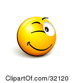 Clipart Illustration Of An Expressive Yellow Smiley Face Emoticon Flirting And Winking