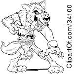 Clipart Illustration of a Ferocious Wolfman In Ripped Clothes, Standing In A Defensive Stance by Lawrence Christmas Illustration