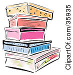 Clipart Illustration of a Stack Of Colorful Shoe Boxes Or Storage Containers by Lisa Arts