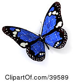 Clipart Illustration of a Blue Solar Panel Butterfly by Frank Boston