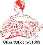 Royalty-Free (RF) Clipart Illustration of a Beautiful Red Hispanic Woman With Flowers by Cherie Reve