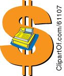 Royalty-free (RF) Clipart Illustration of a Cash Register Over A Giant Orange Dollar Symbol by pauloribau