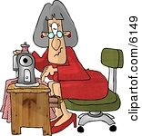 Royalty-free Clip Art: Elderly Seamstress Woman Sewing A Dress