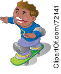 Royalty-Free (RF) Clipart Illustration of a Happy Hispanic Boy Wearing Knee Pads And Skateboarding by YUHAIZAN YUNUS