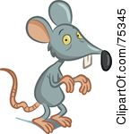 Royalty-Free (RF) Clipart Illustration of a Scrawny Gray Mouse by Frisko