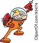 Royalty-Free (RF) Clipart Illustration of a Blond Astronaut Toon Guy Hero Holding Up A Ray Gun by gnurf