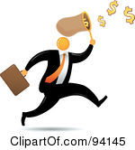Royalty-Free (RF) Clipart Illustration of an Orange Faceless Businessman Running And Catching Dollars In A Net by Qiun